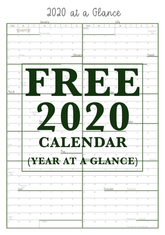 Collect At A Glance Printable Calendar