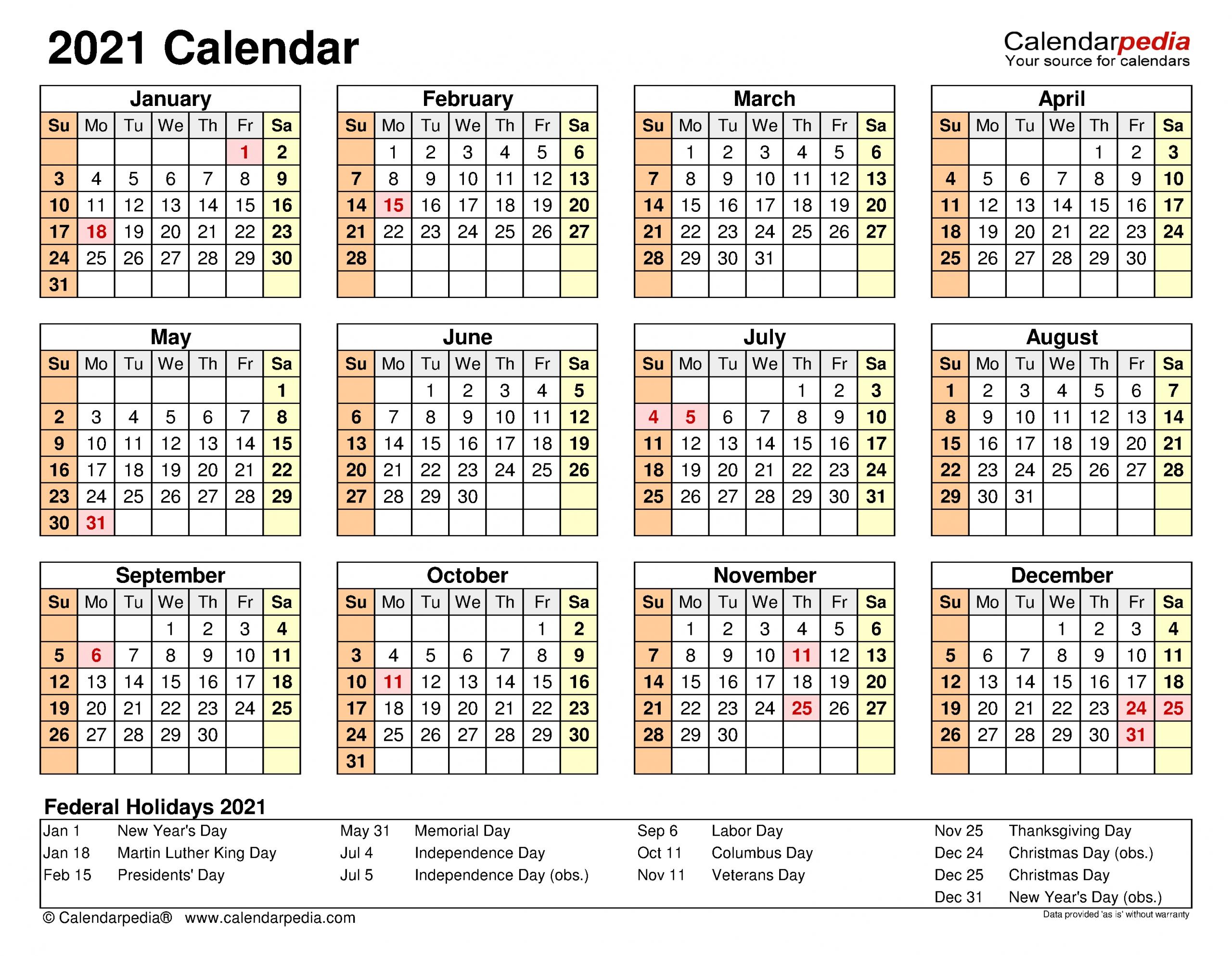 Collect Attendance Calendar 2021
