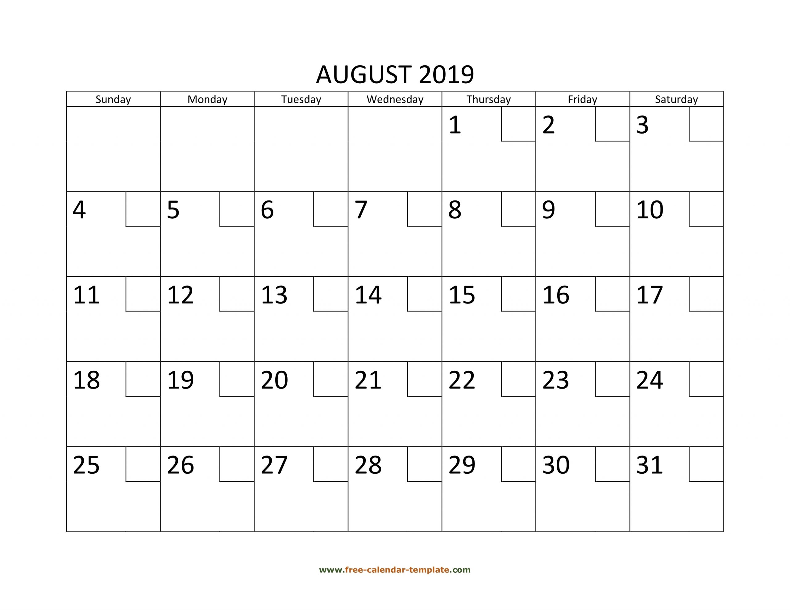 Collect August 2021 Calendar With Text Boxes Printable With Grid Box