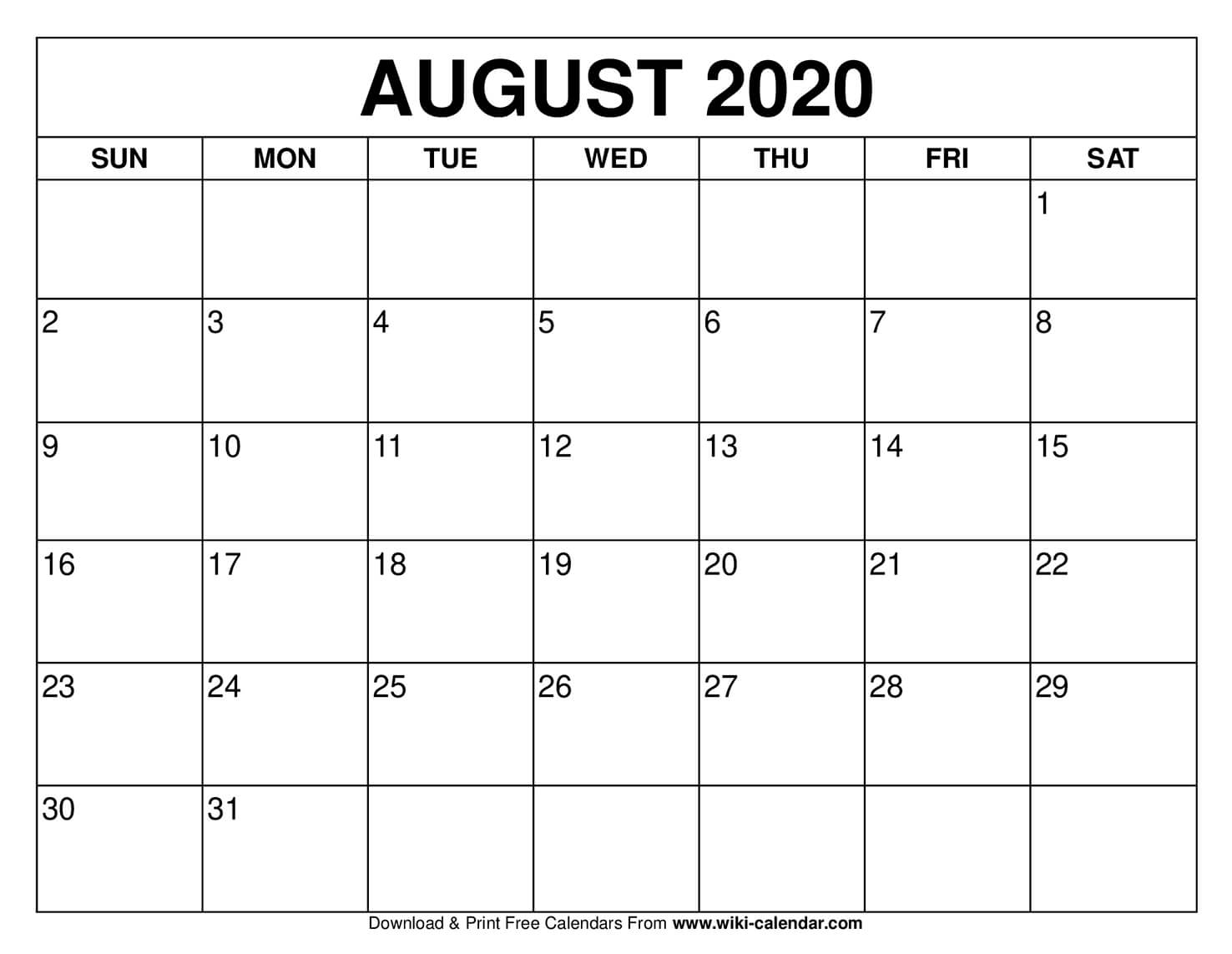 Collect August 2021 Calendar With Writing Space