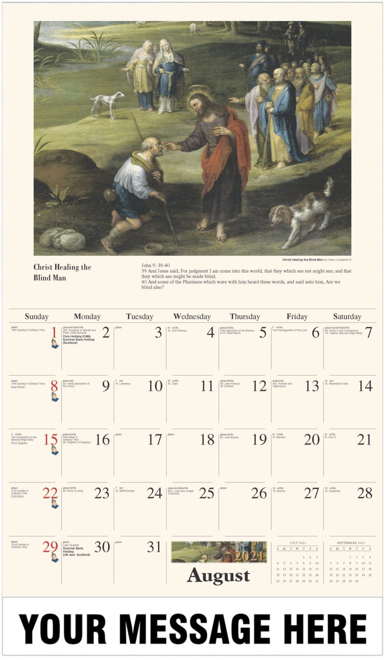 Collect August 2021 Catholic Month Of