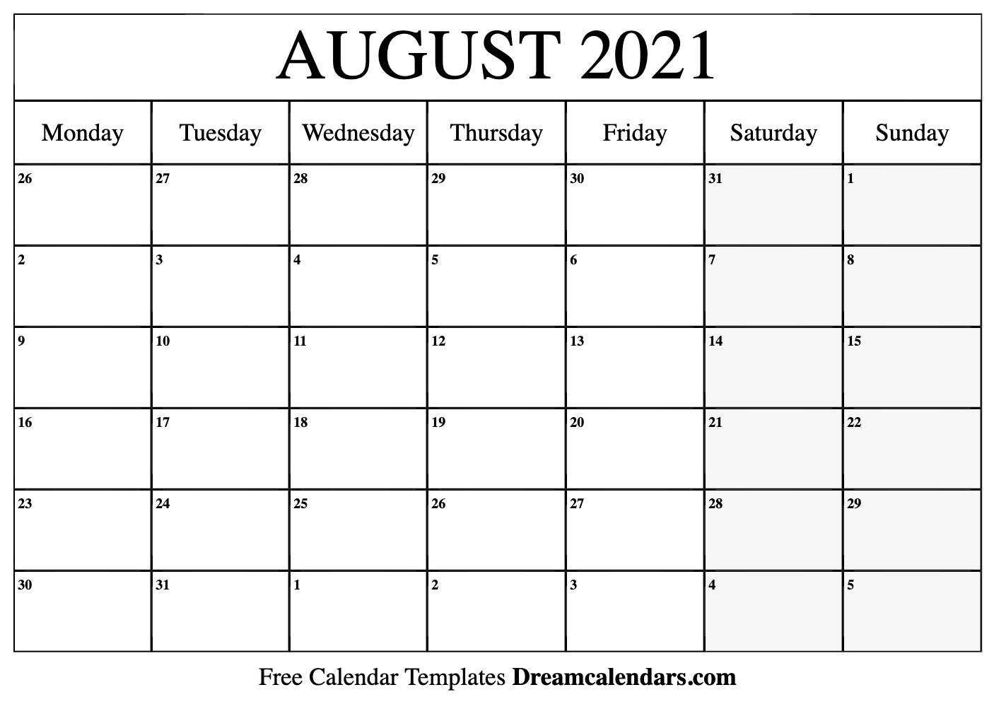 Collect August 2021 Monday To Sunday Calendar