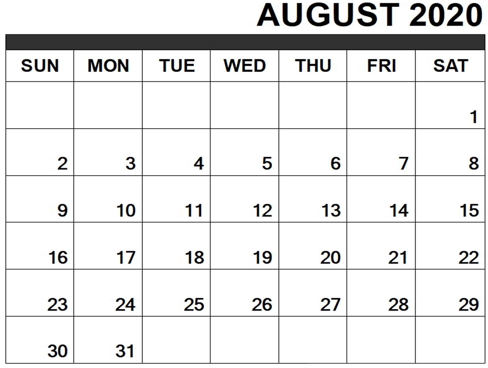 Collect August Calendar Print Out