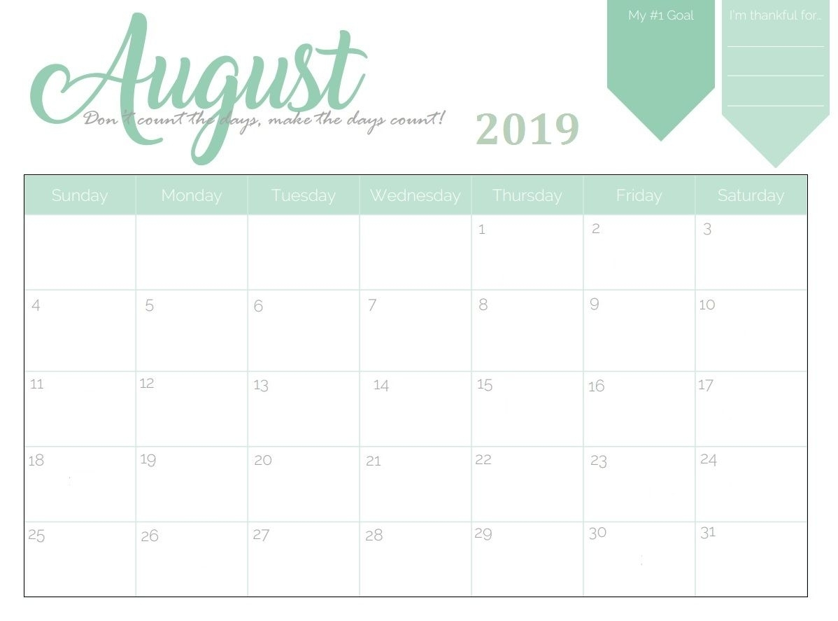 Collect August Girly Printable Calendar