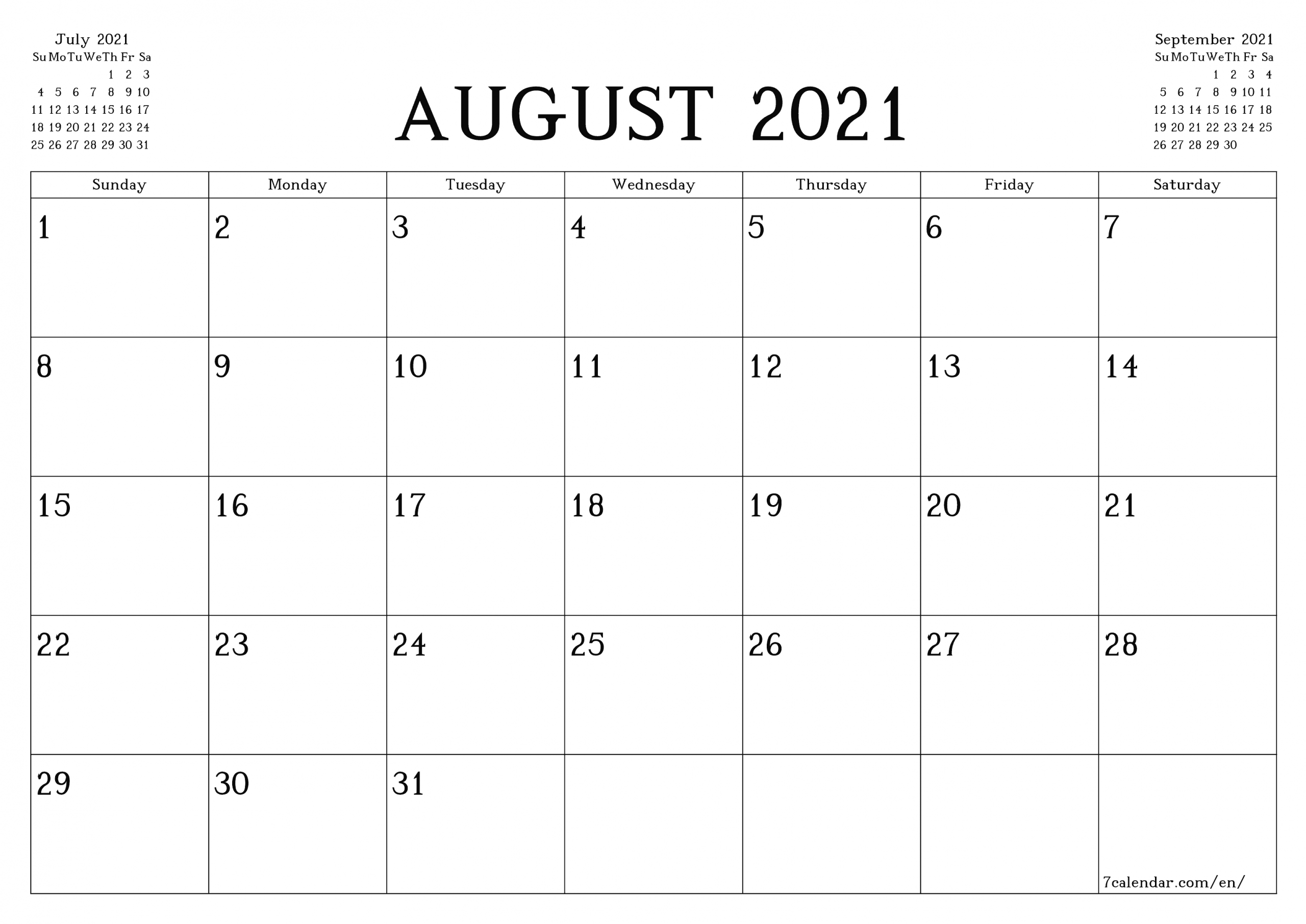 Collect August Monthly Calendar Landscaoe