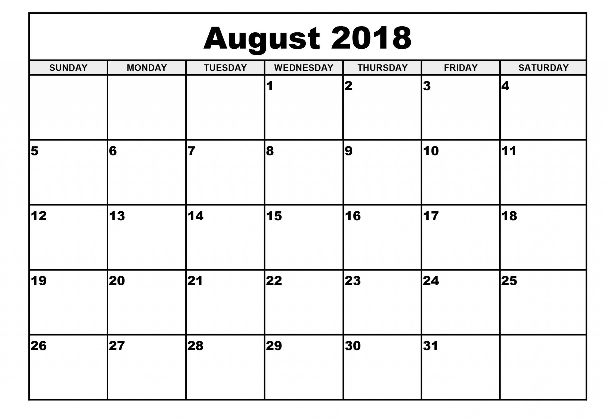 Collect August Monthly Calendar Monday To Friday