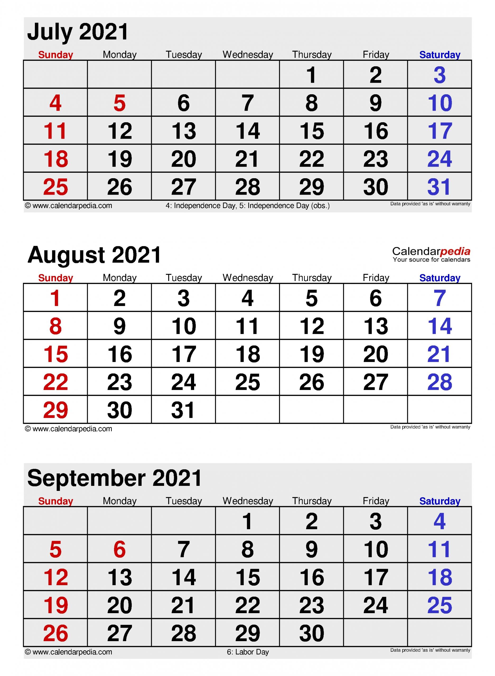 Collect August Through September Calendar 2021