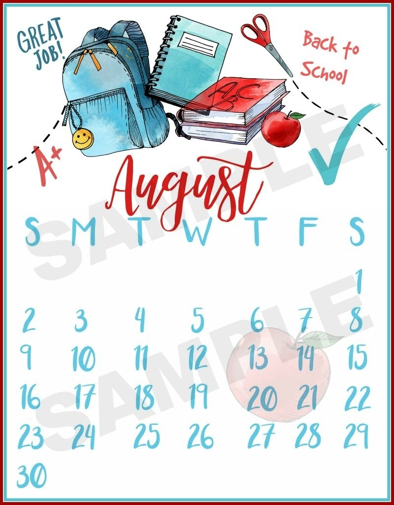 Collect Back To School August Calander