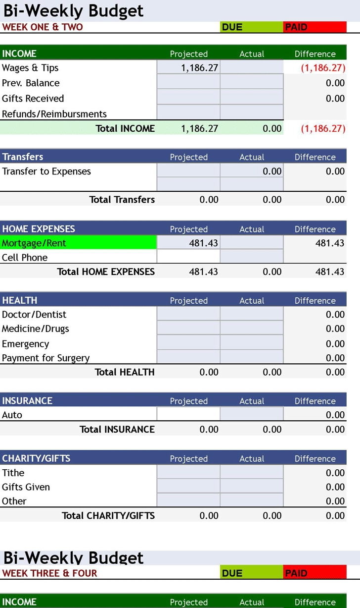 Collect Bi Weekly Bill Payment Worksheet