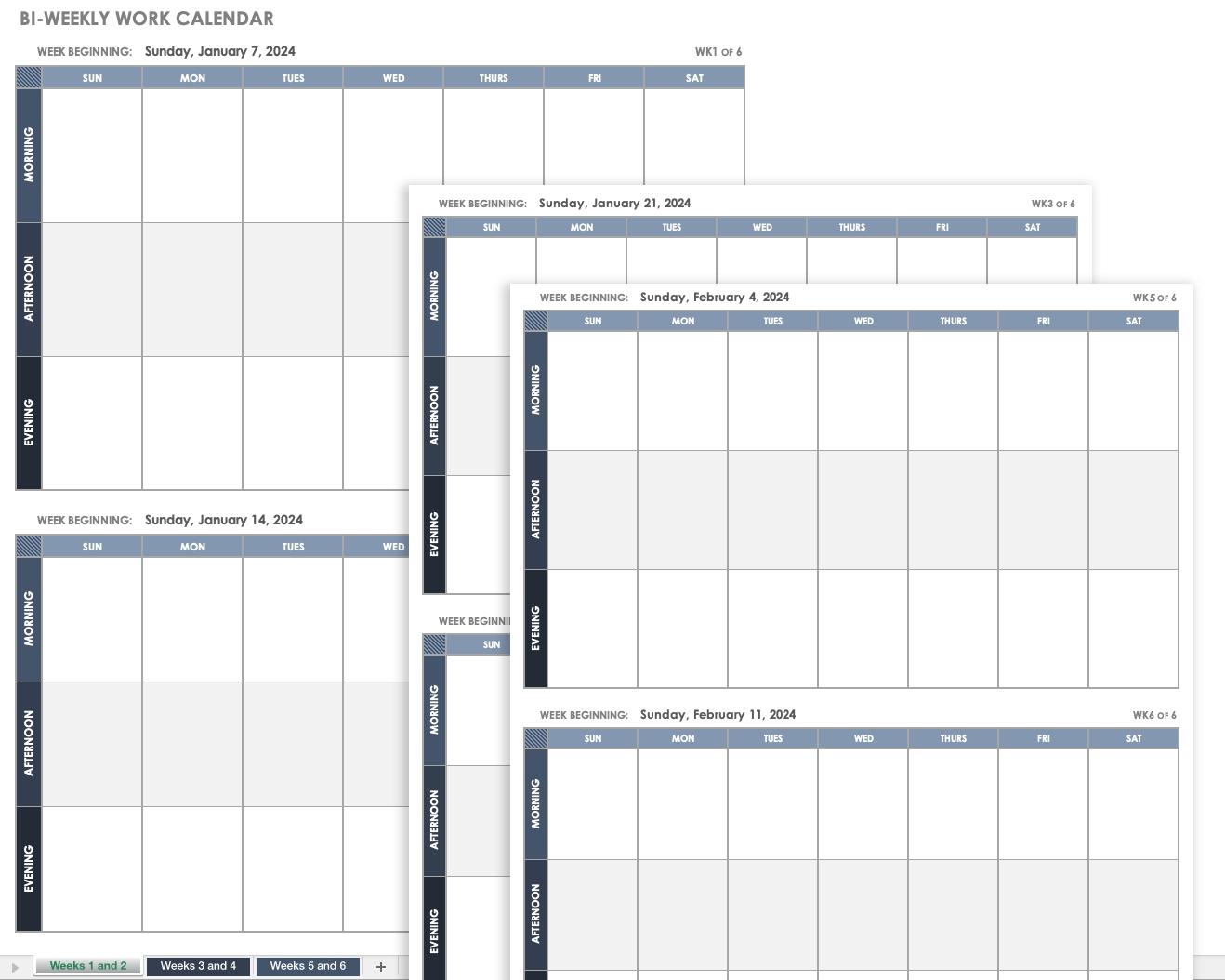 Collect Bi Weekly Printable Calendar
