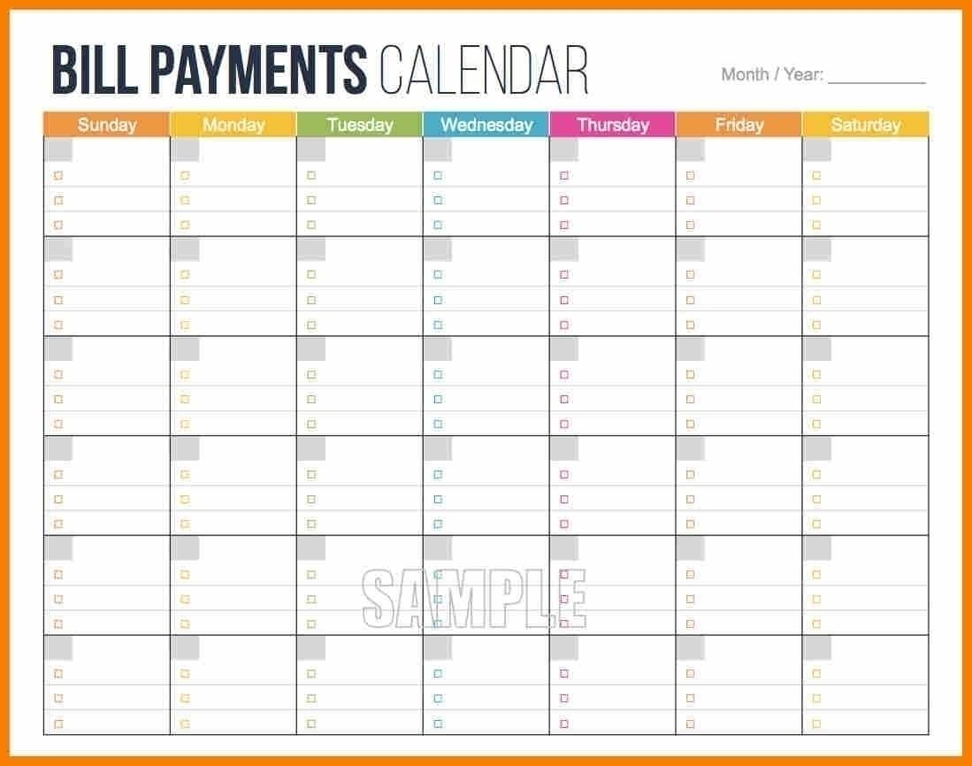 Collect Bill Calendar Template