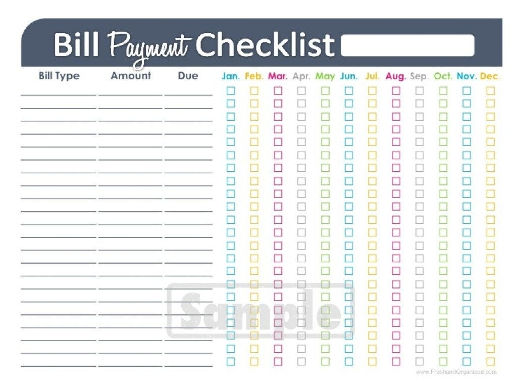 Collect Bill Paying Worksheet