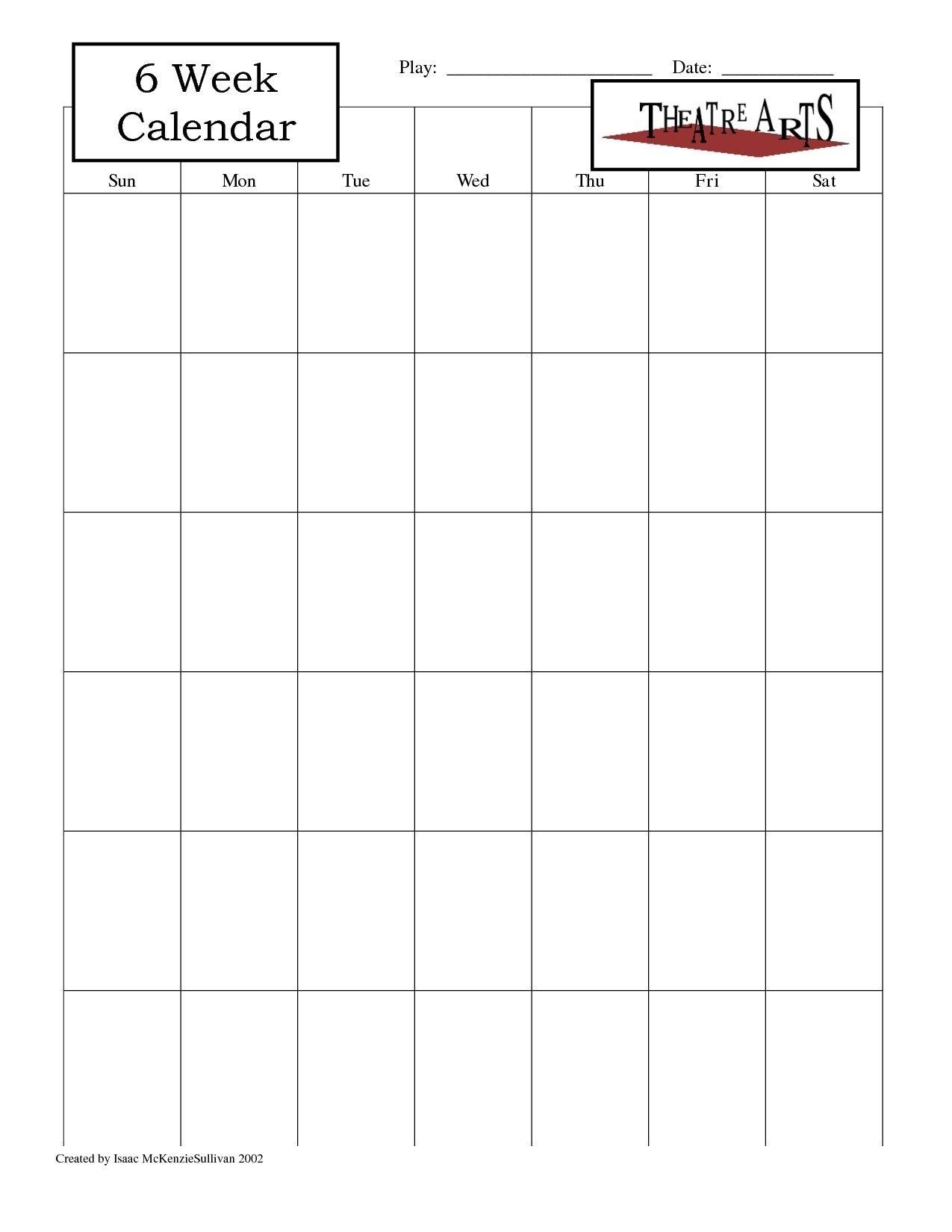 Collect Blank 6 Week Calendar Template