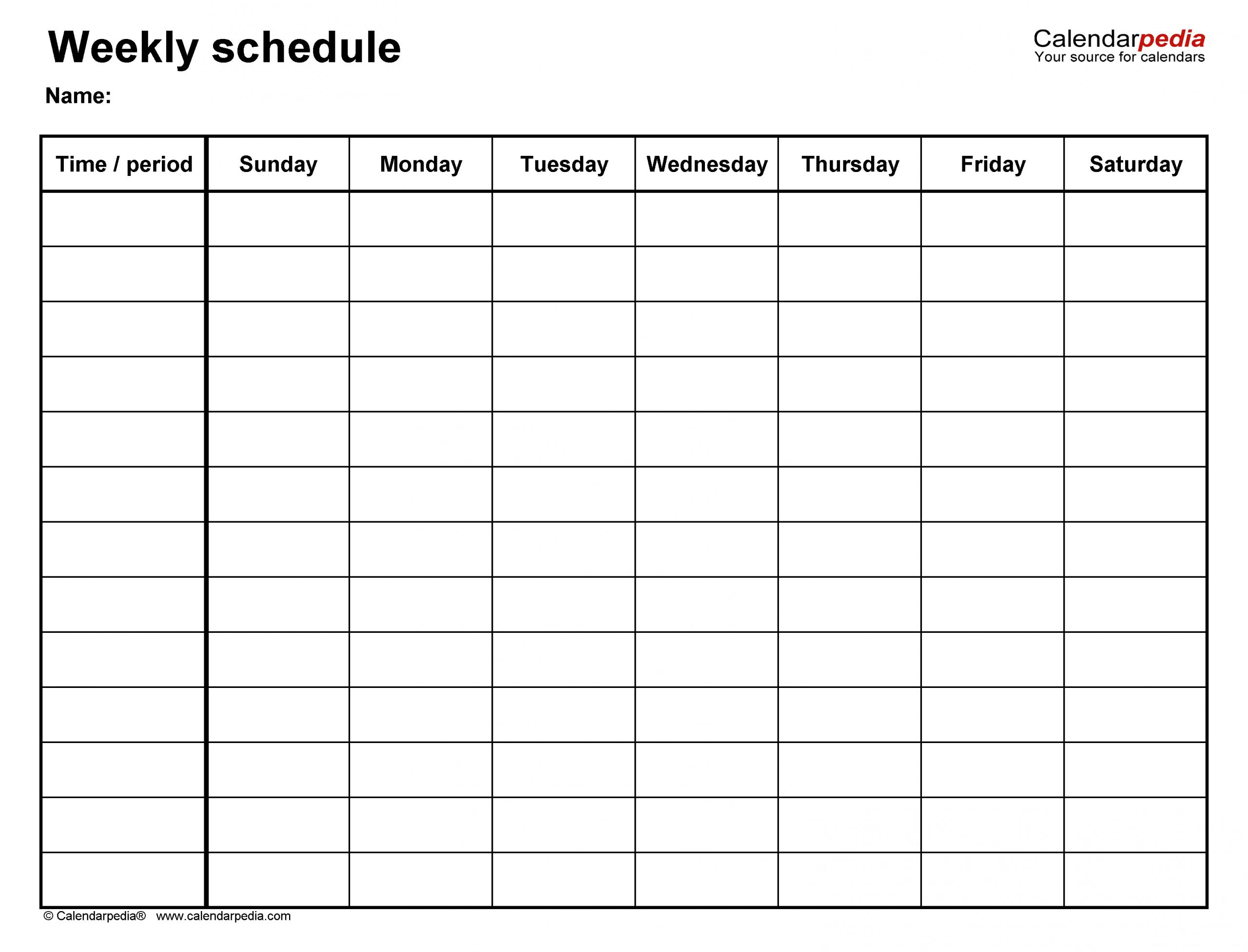 Collect Blank 7 Day Week Calendar Template