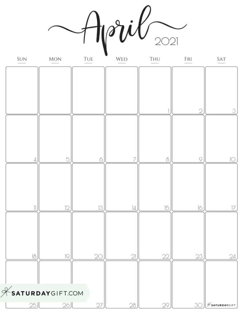 Collect Blank April 2021 Calendar Printable