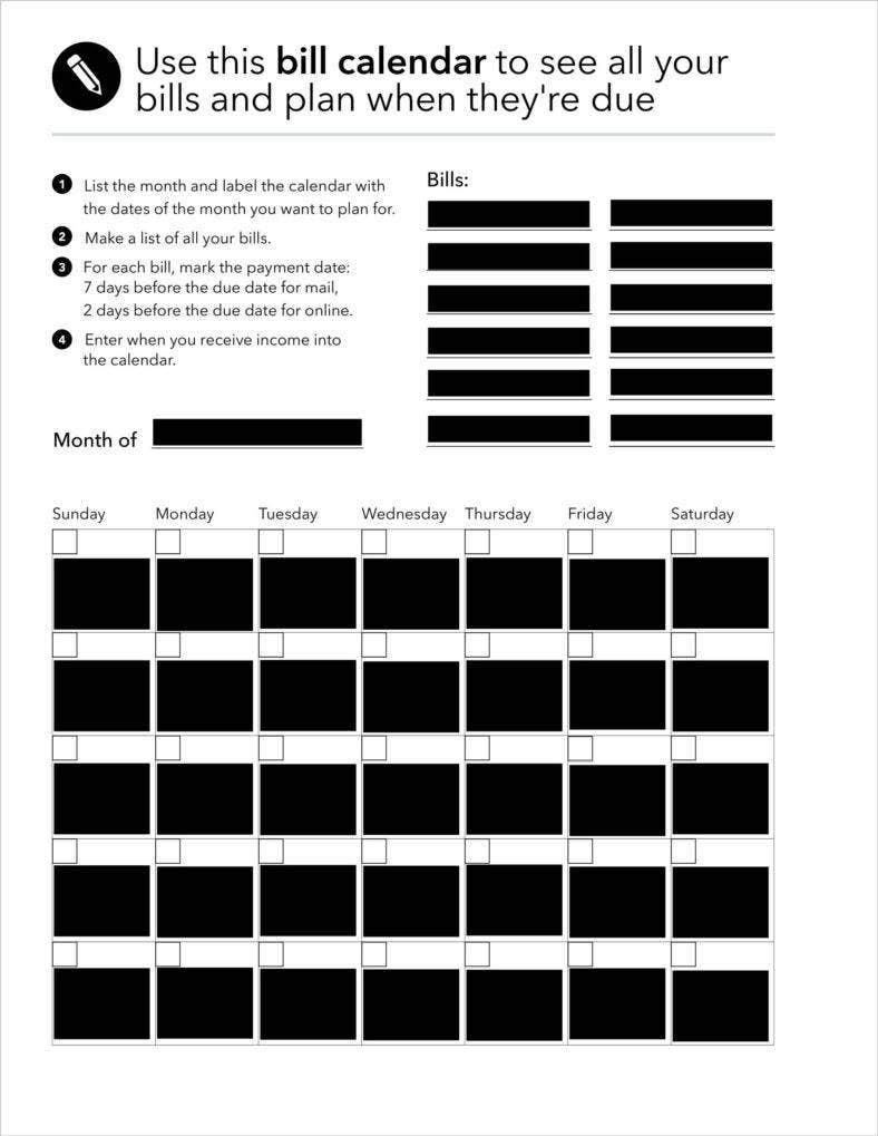Collect Blank Bill Calendar Printable