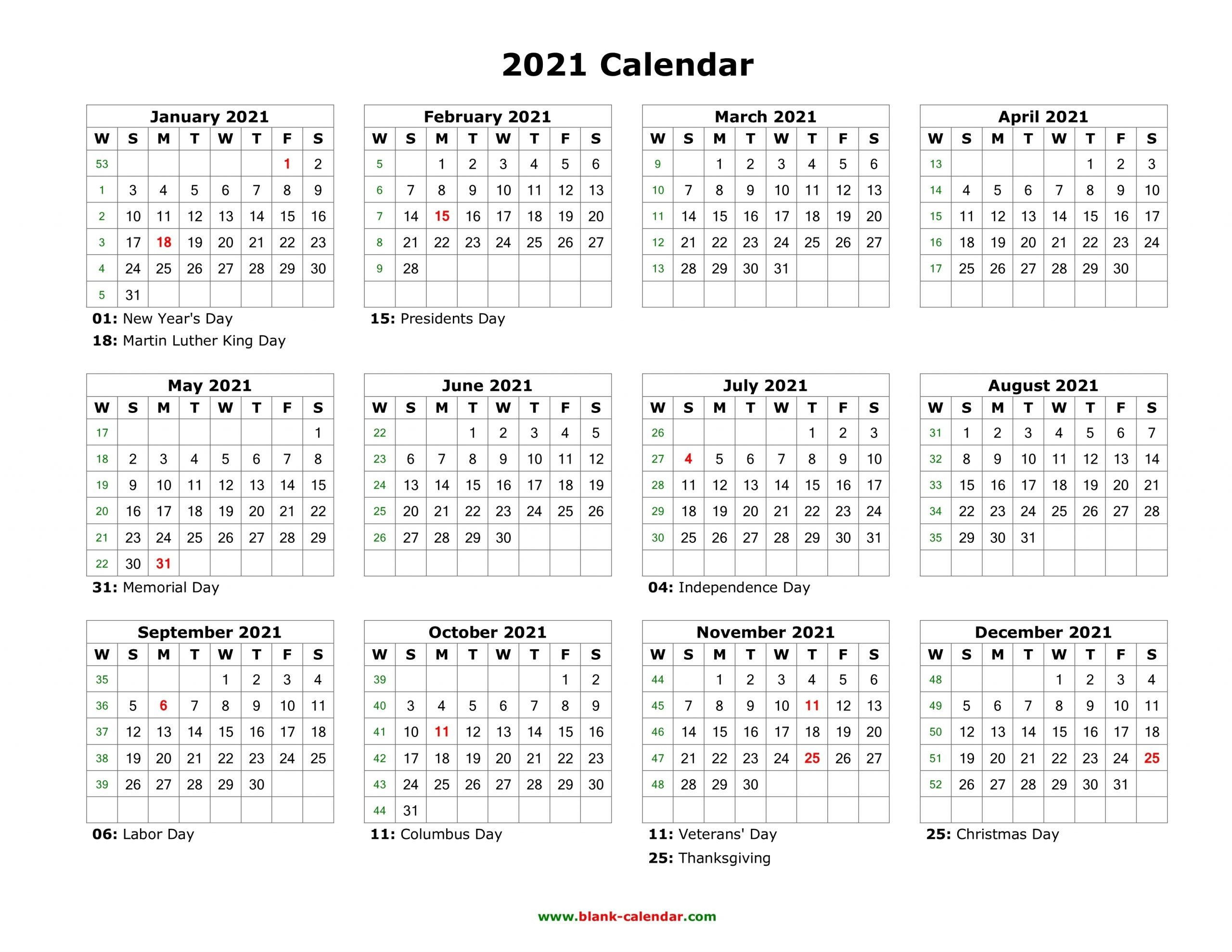 Collect Blank Calendar 2021 Printable Monthly