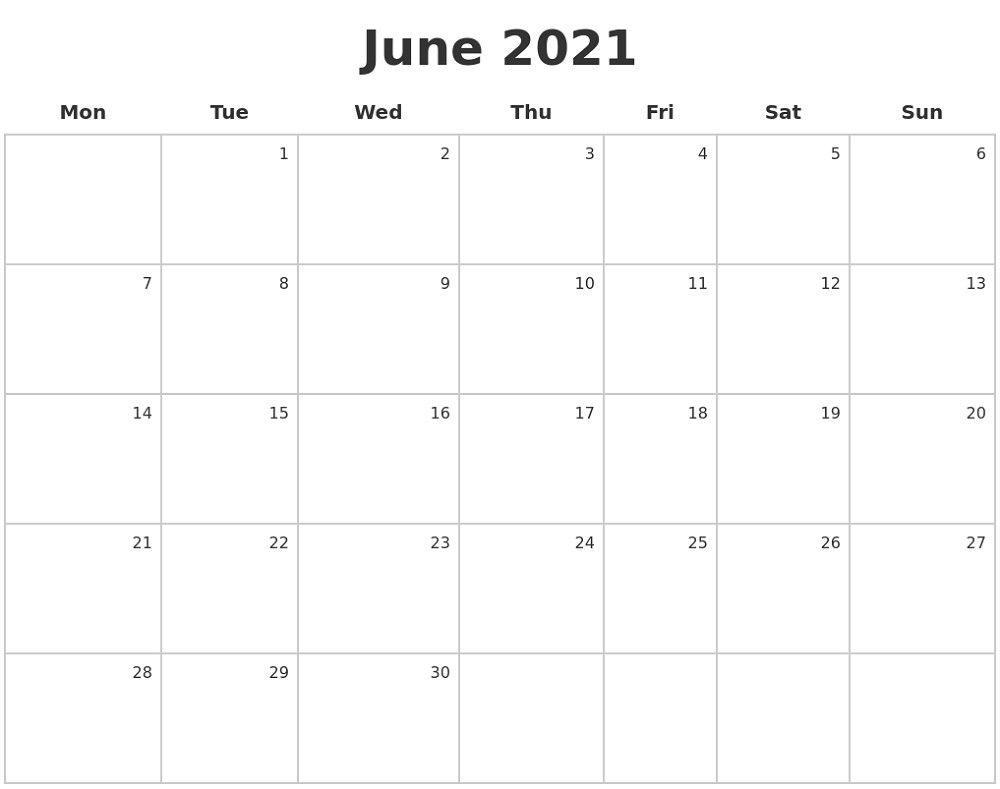 Collect Blank Calendar 2021Monday To Sunday