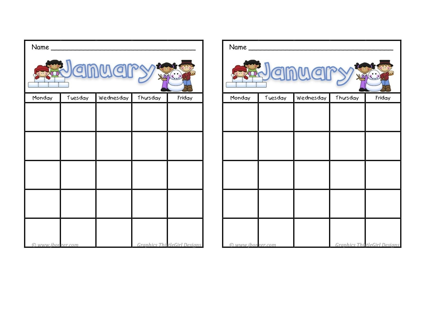 Collect Blank Calendar Chart For Classroom