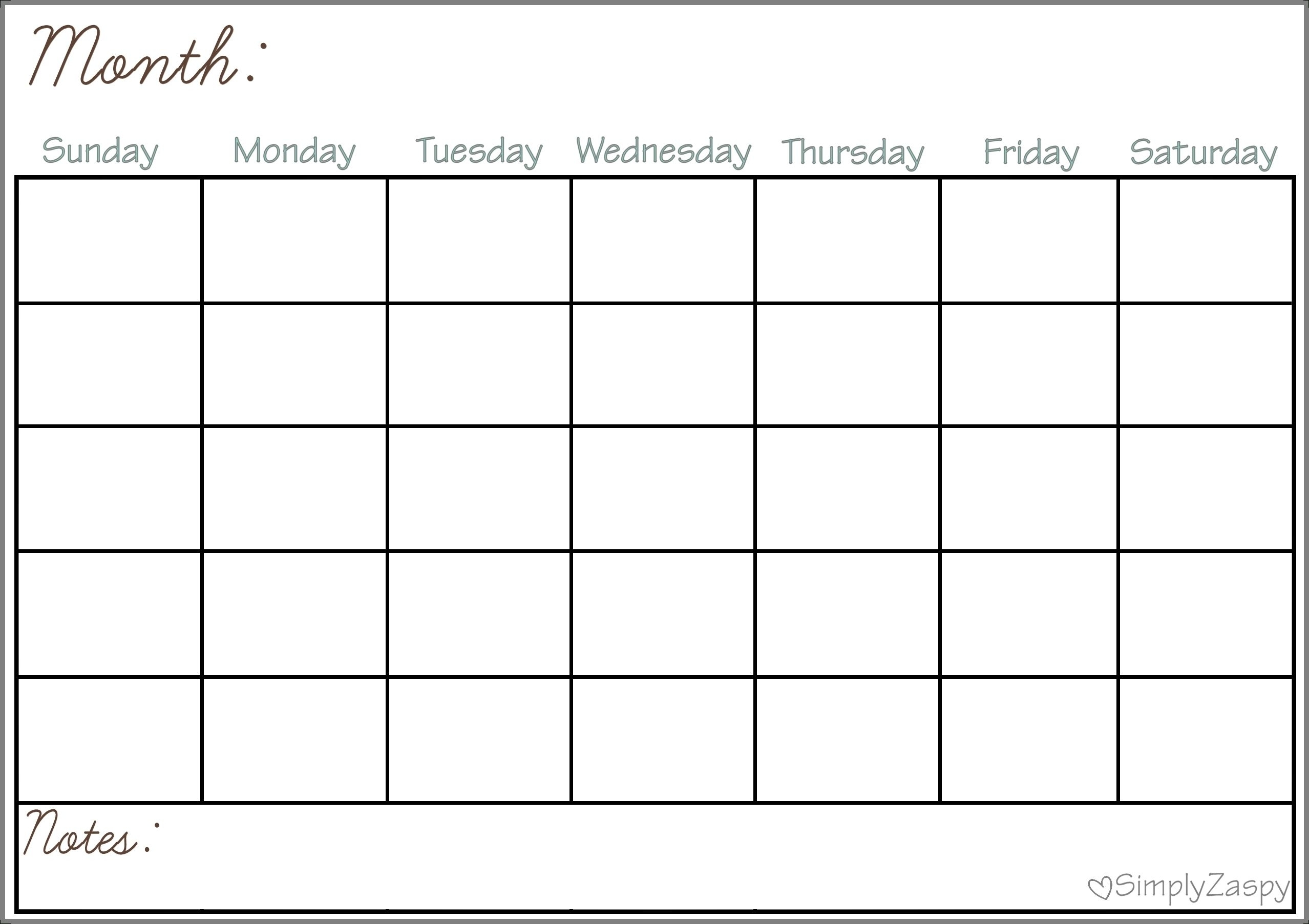 Collect Blank Calendar Chart For Classroom