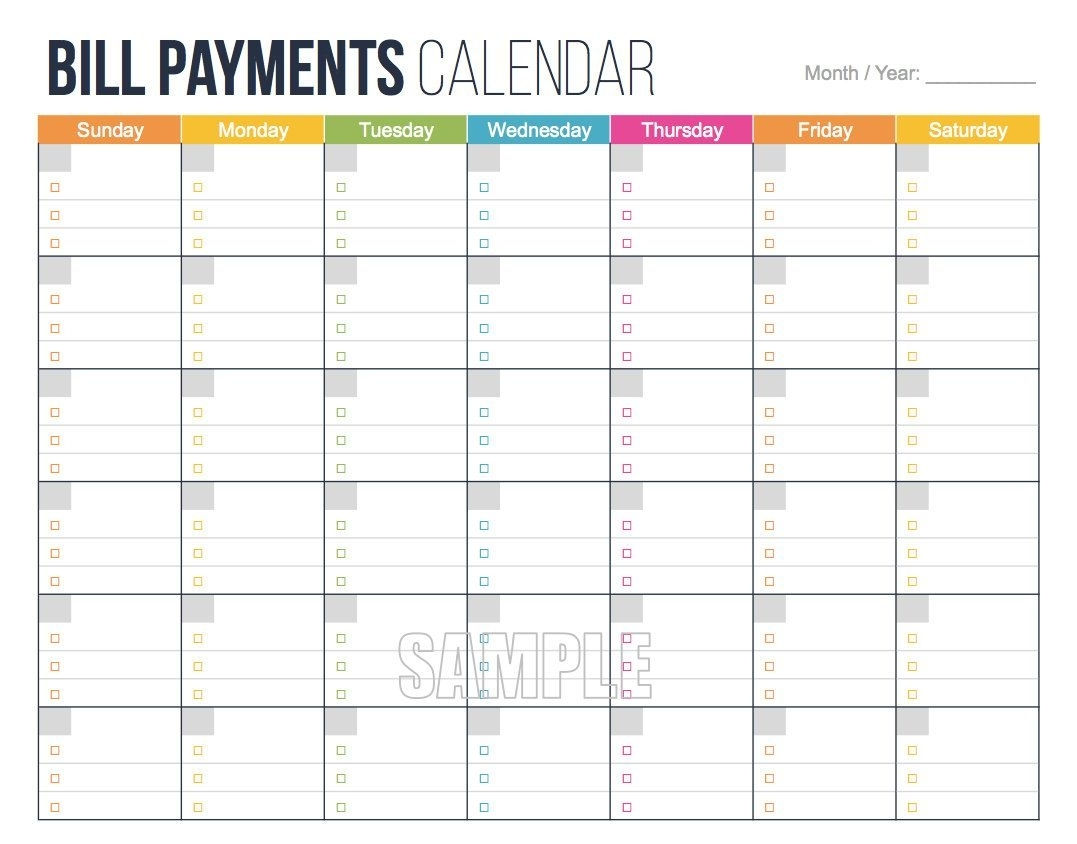Collect Blank Calendar For Bill Pay