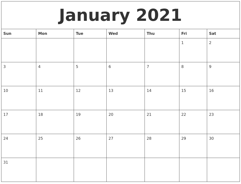 Collect Blank Fillable Monthly Calendar 2021