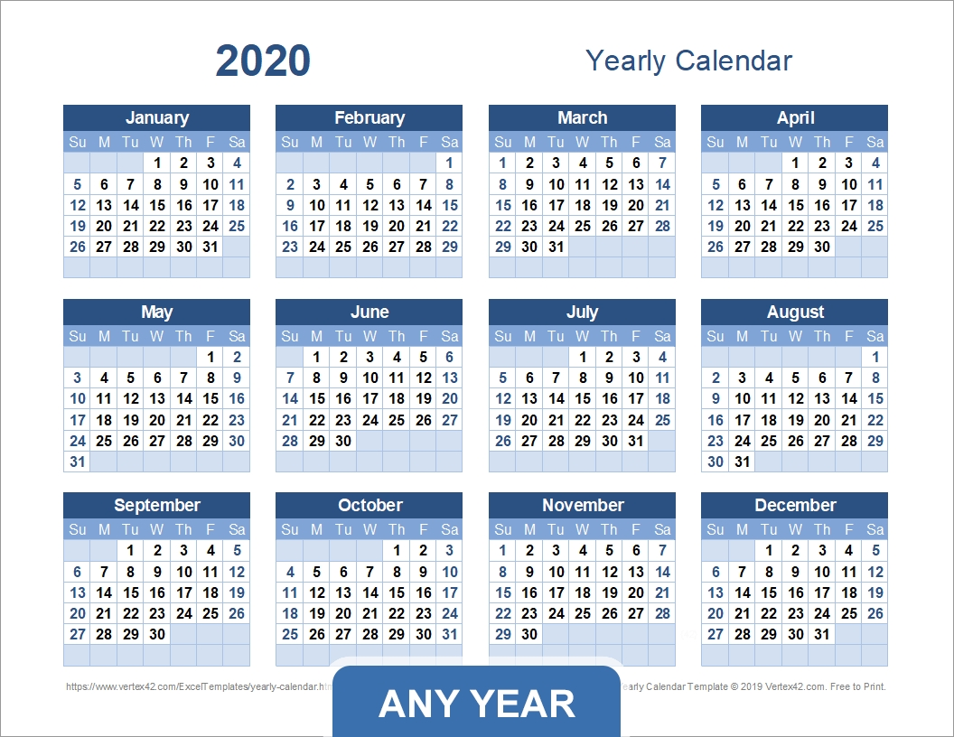 Collect Blank Full Year Calendar