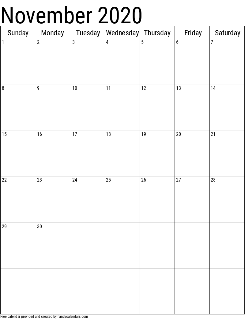 Collect Blank Horizontal November Calendar