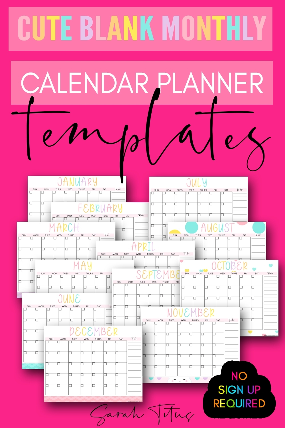 Collect Blank Monthly Calendar Printable