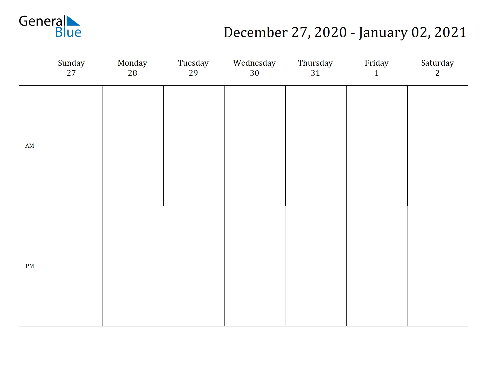 Collect Blank Two Week Schedule