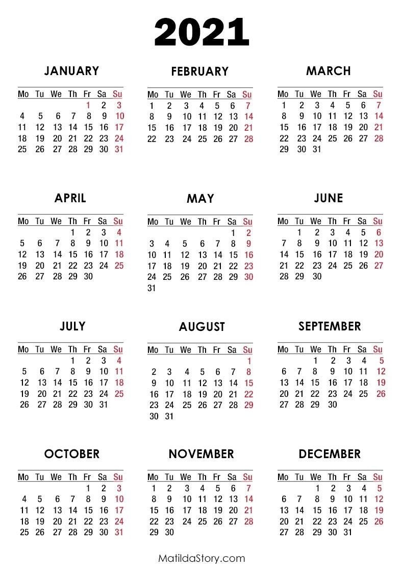 Collect Calendar 2021 Monday Thru Sunday