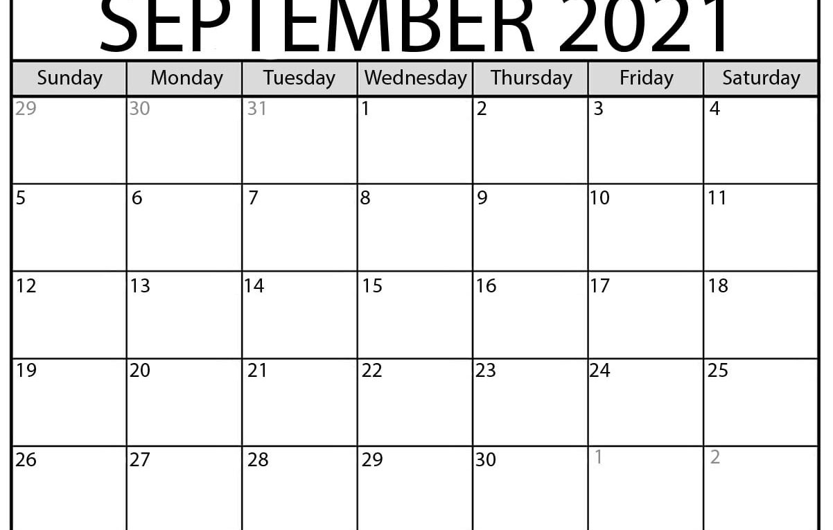 Collect Calendar For September 2021 With Large Numbers