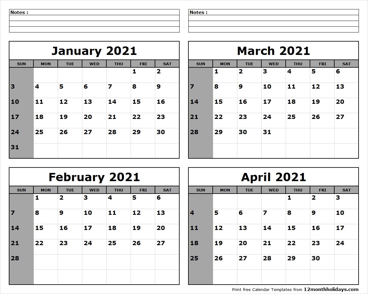 Collect Calendar Jan To April 2021