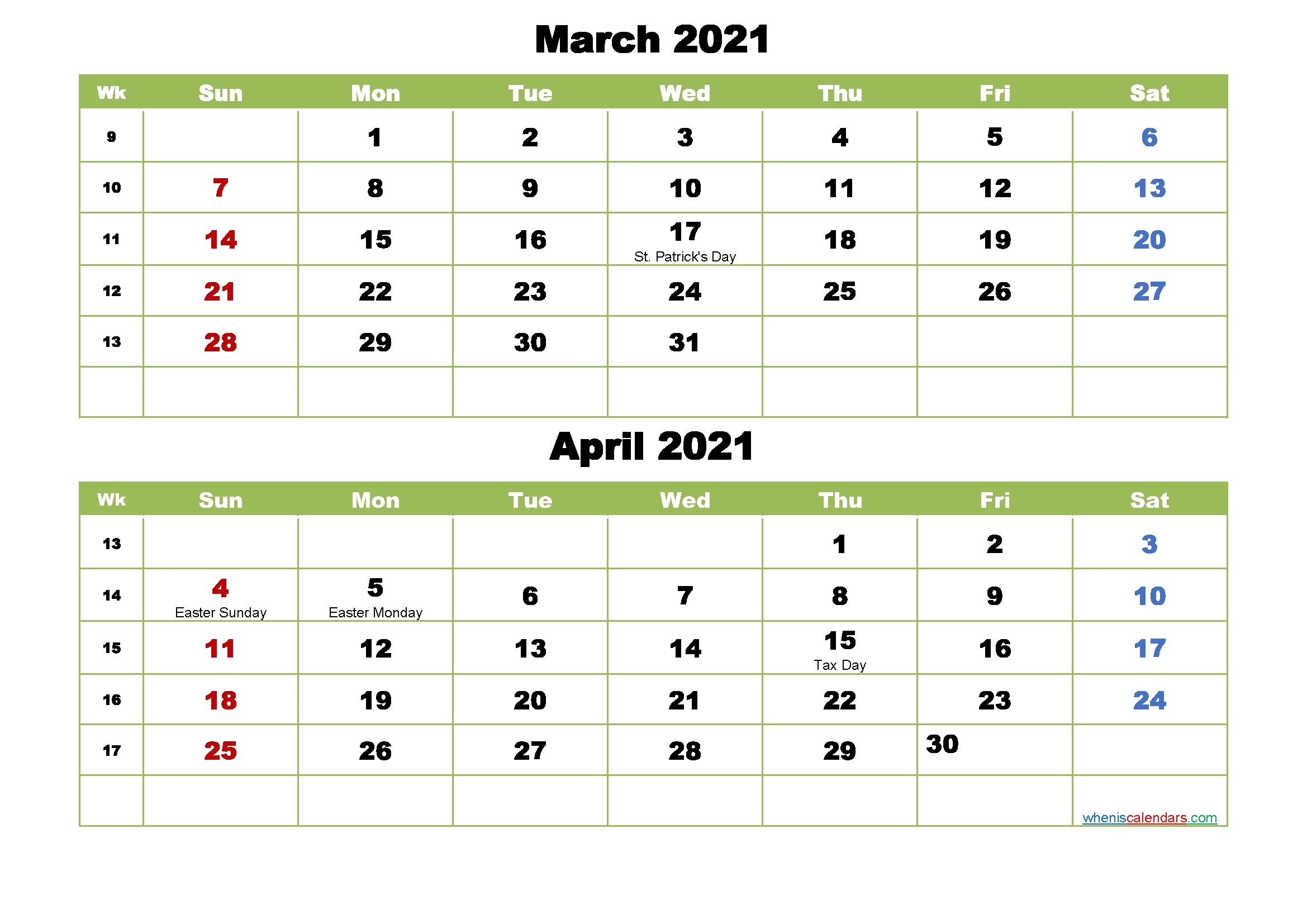 Collect Calendar March April 2021
