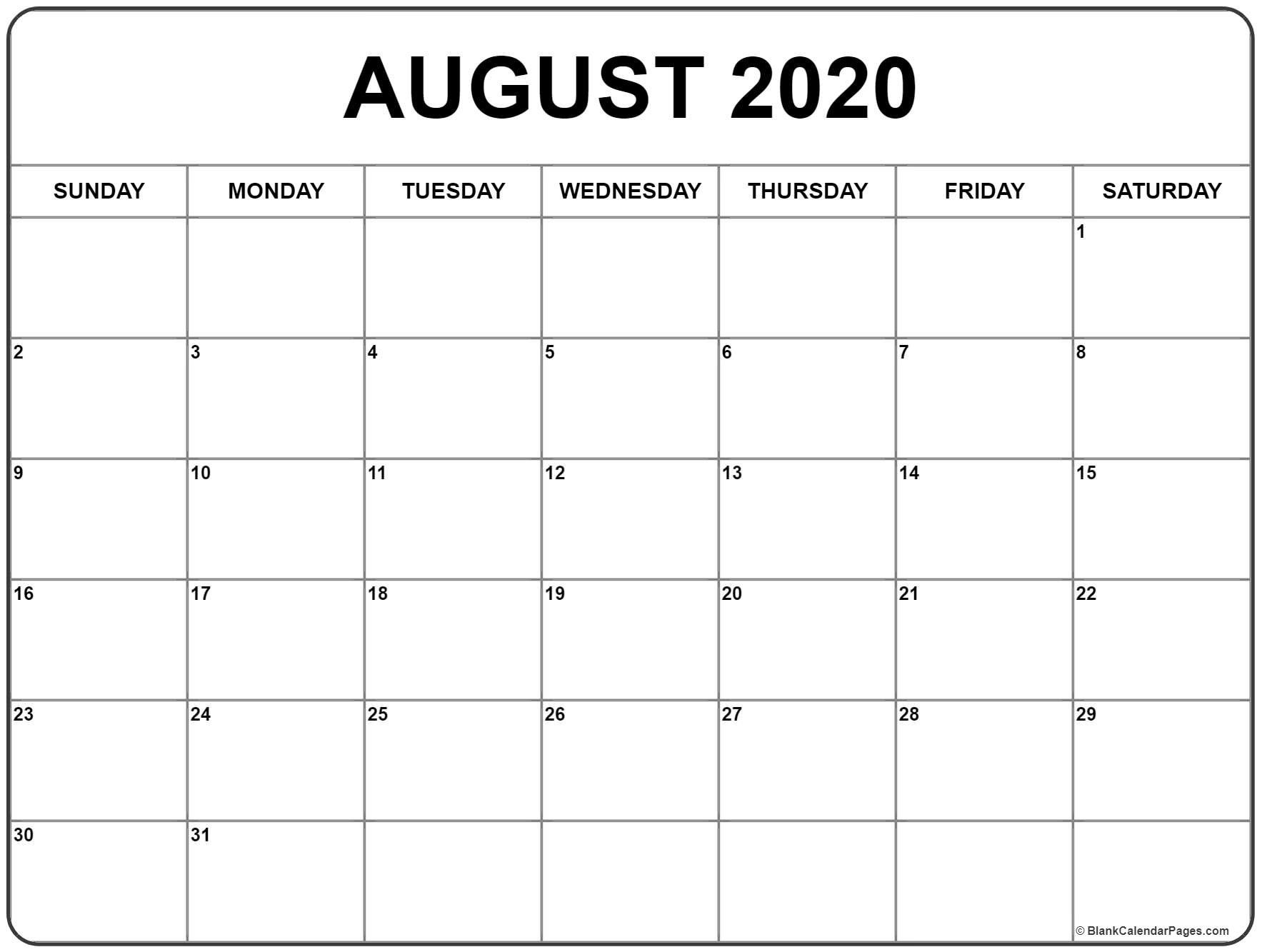Collect Calendar Month Of August