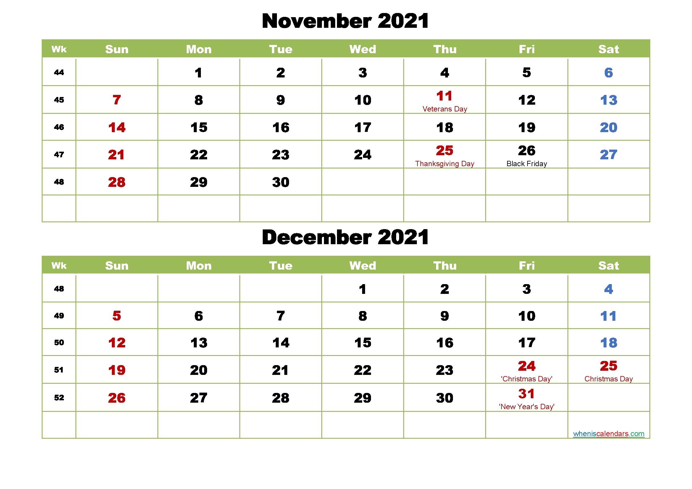 Collect Calendar November – December 2021