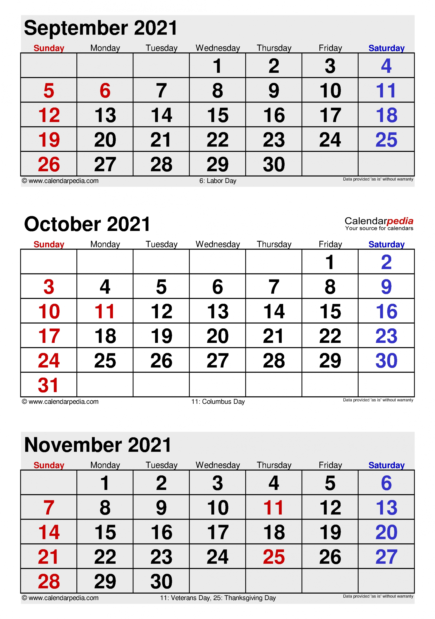 Collect Calendar October Thru December 2021