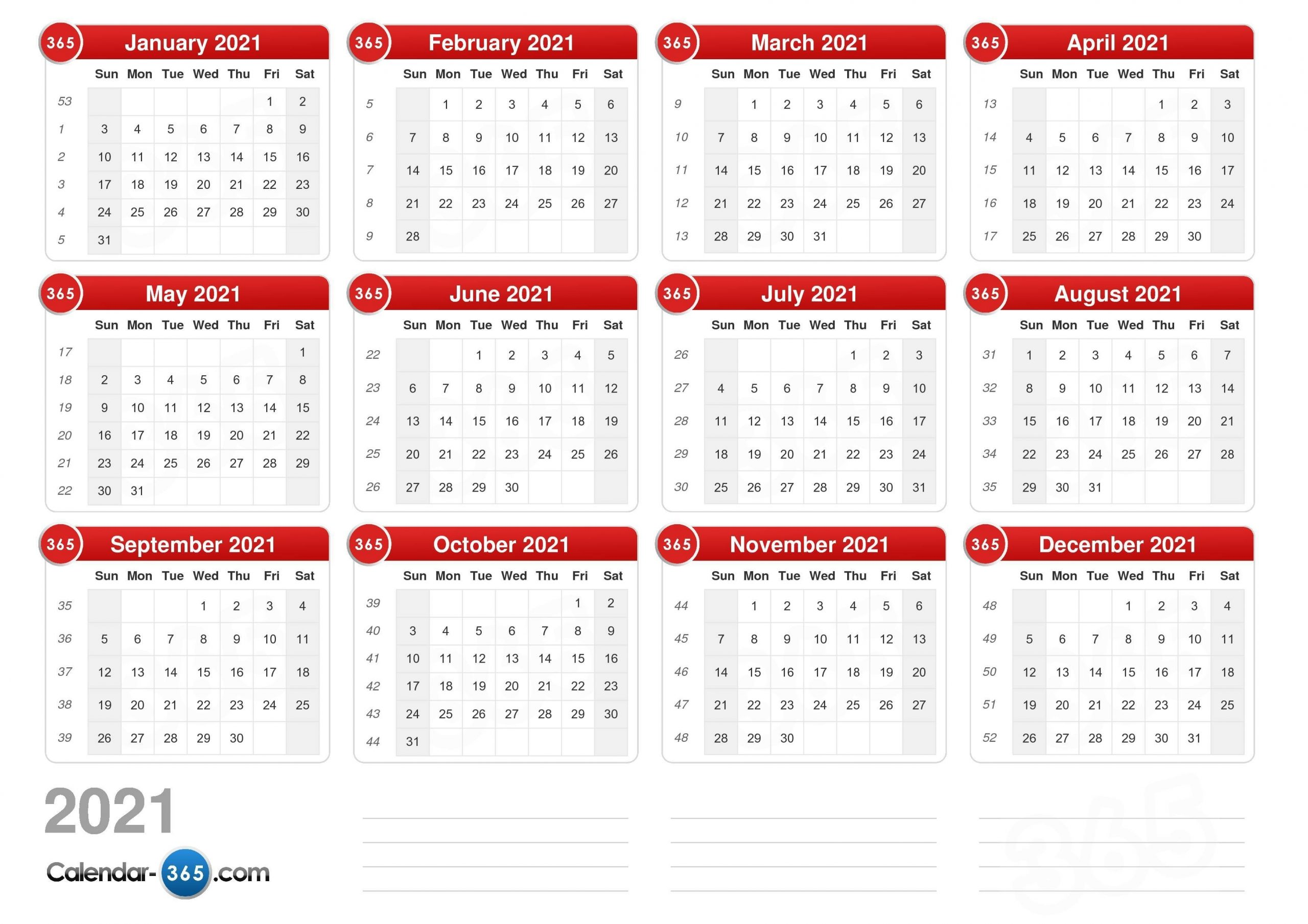 Collect Calendar With Days Numbered 2021