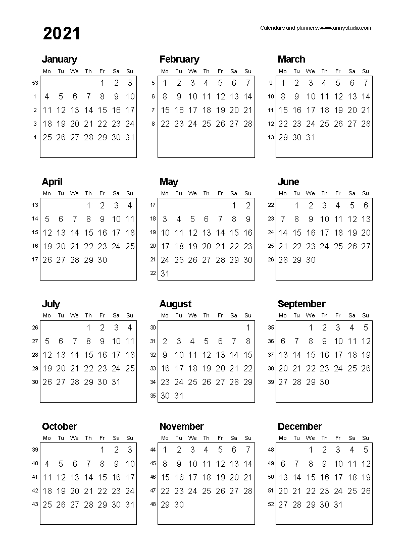 Collect Calendar With Days Numbered For 2021