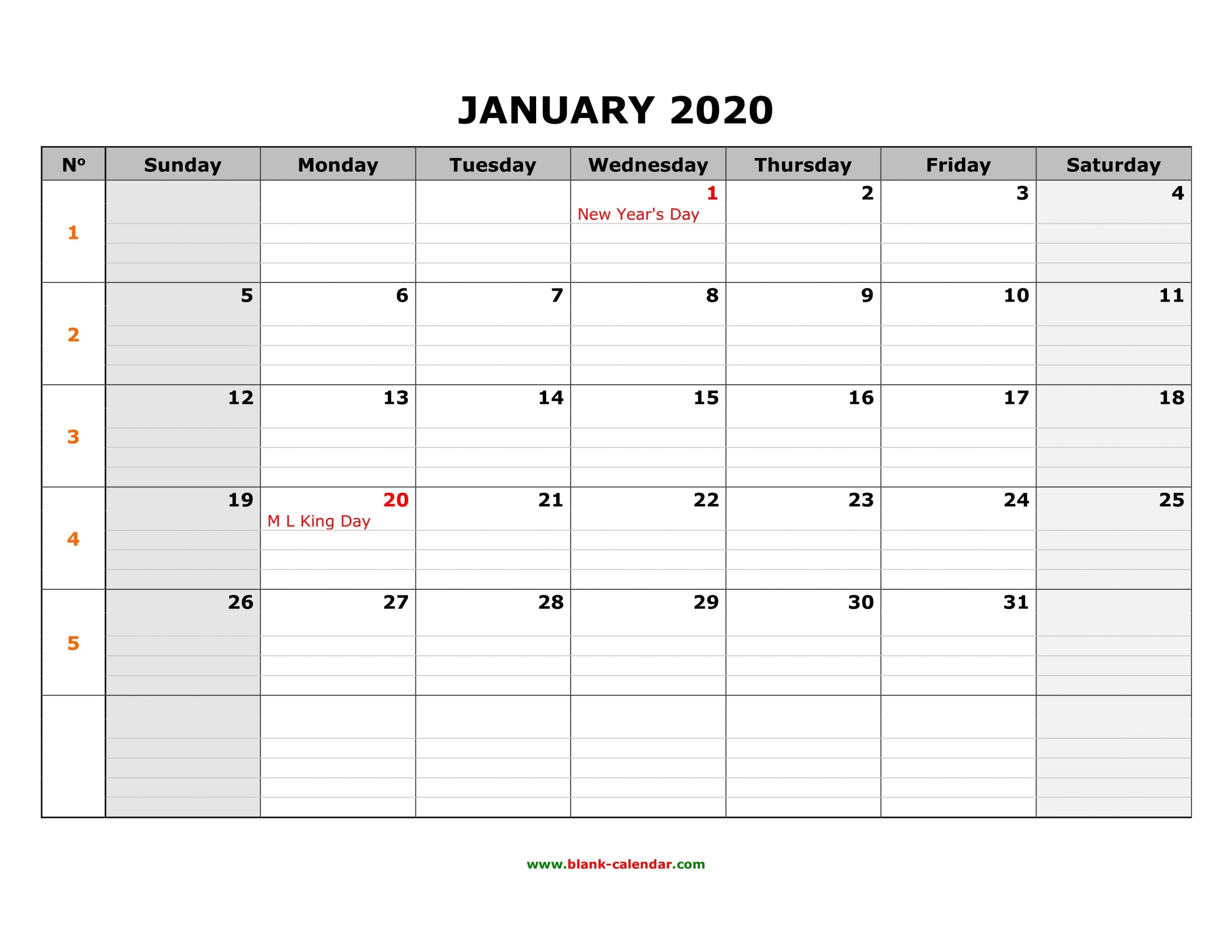 Collect Calendar With Space To Write Print Out