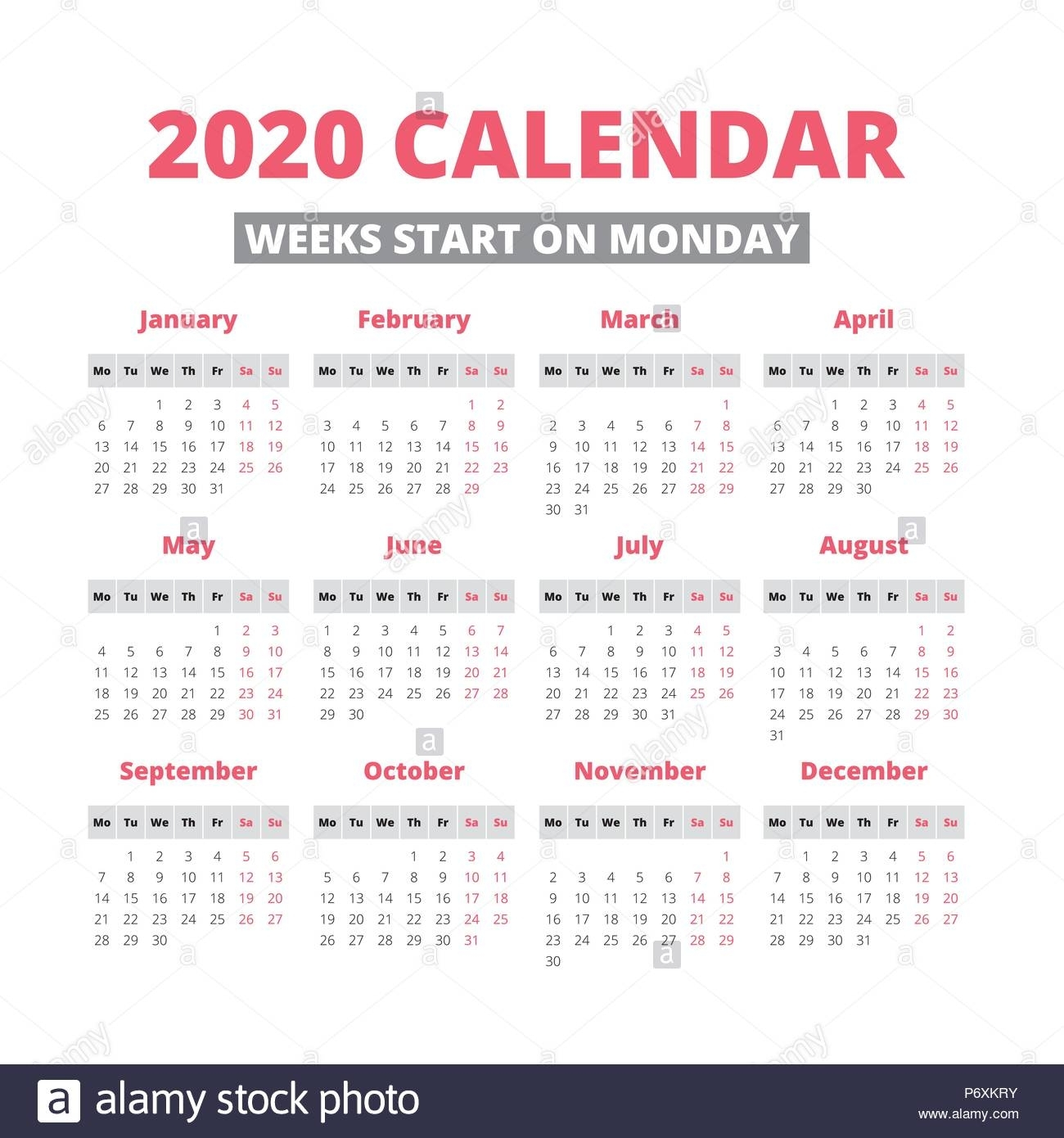 Collect Calendar With Week Starting On A Monday