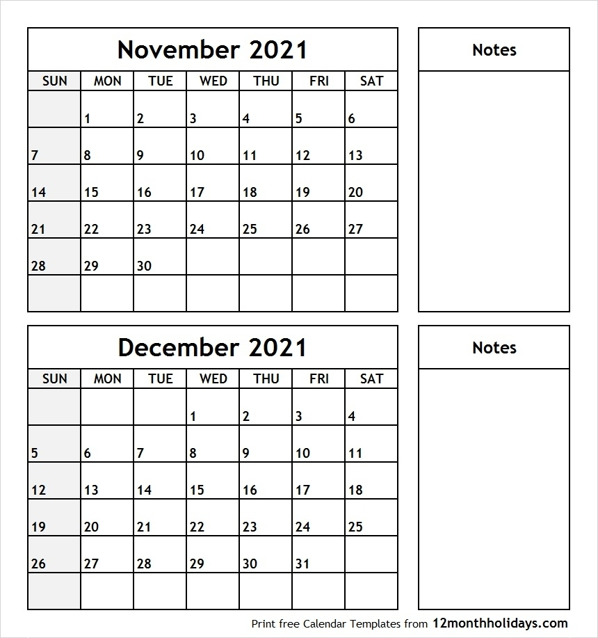 Collect Calendars For November And December 2021