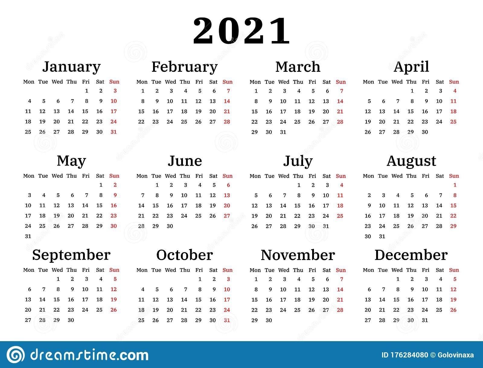 Collect Calender 2021 Week Start Monday