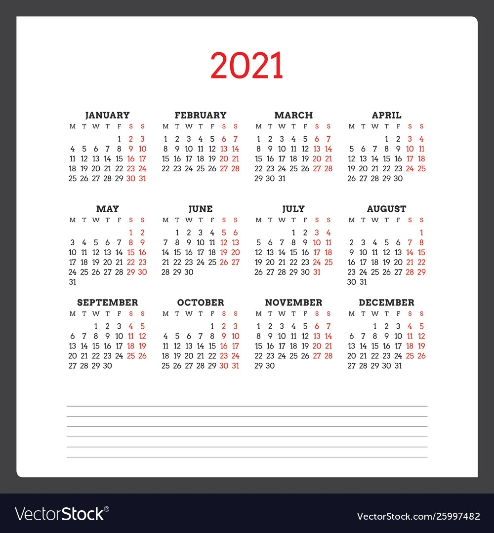 Collect Calender 2021 Week Start Monday