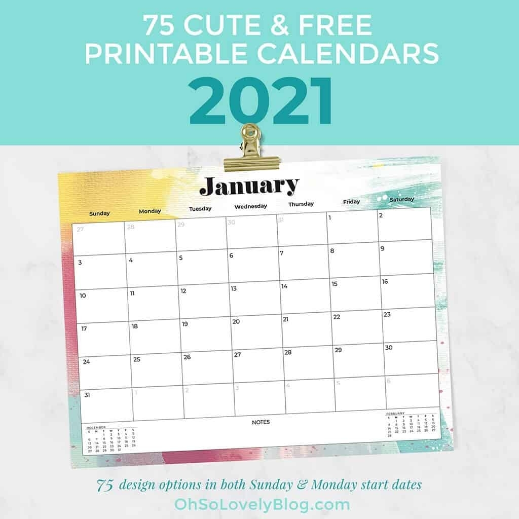 Collect Cute 2021 Printable Calendar By Month