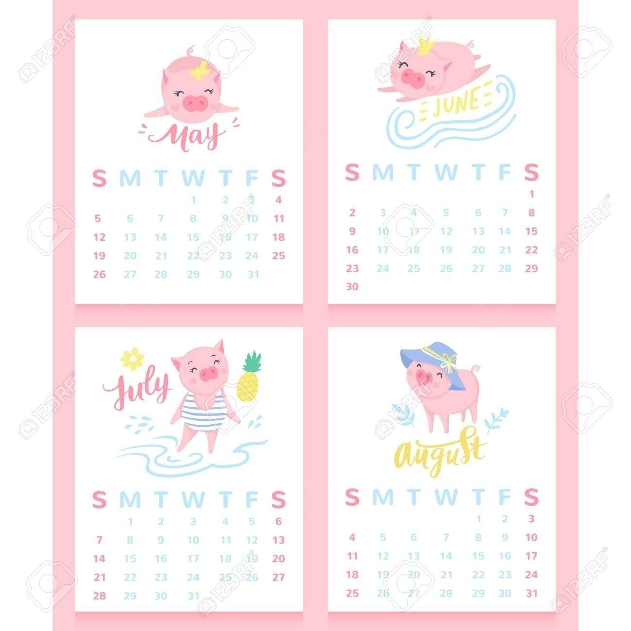 Collect Cute August 2021 Pig Calendar Printable