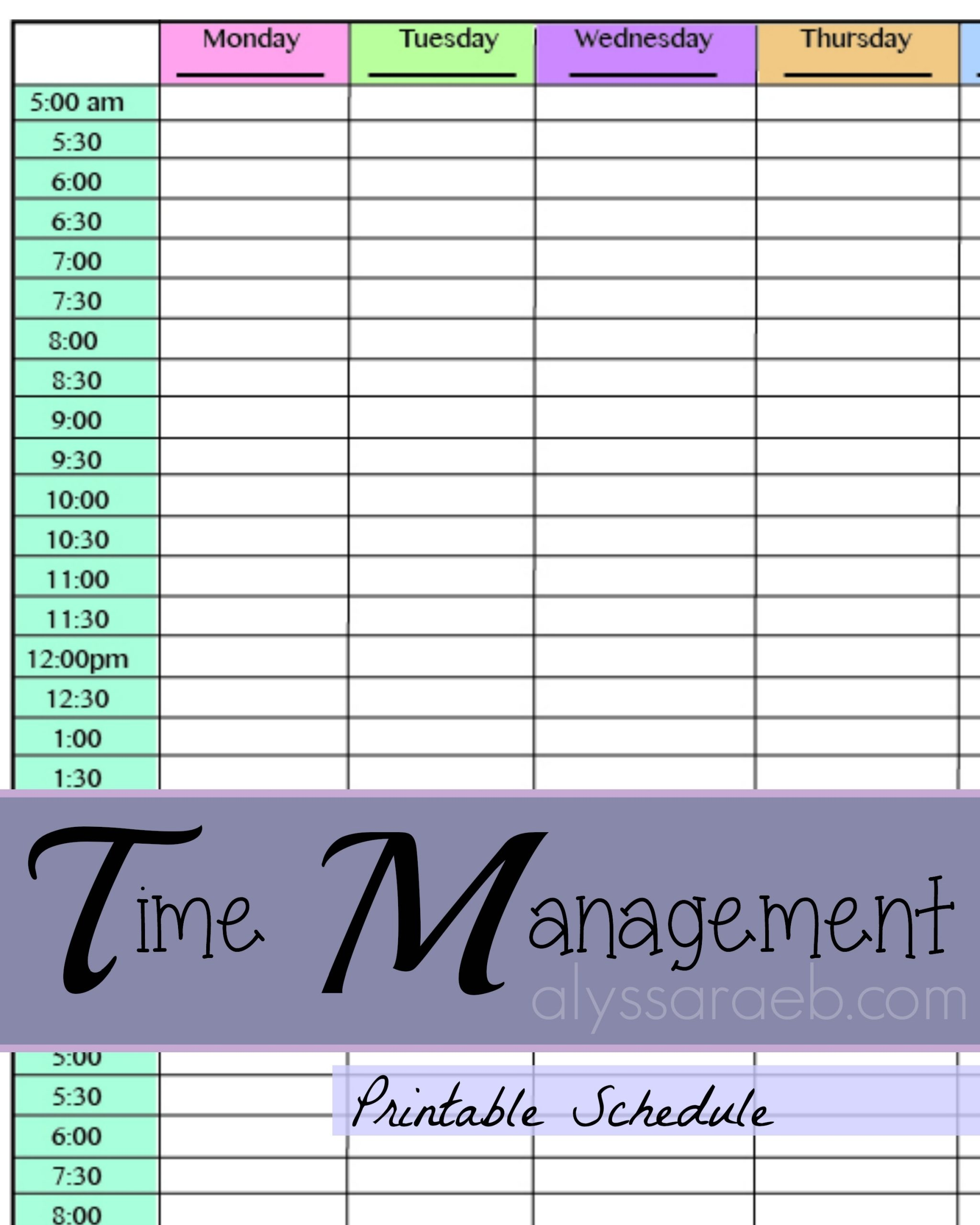 Collect Daily Schedule By Half Hour