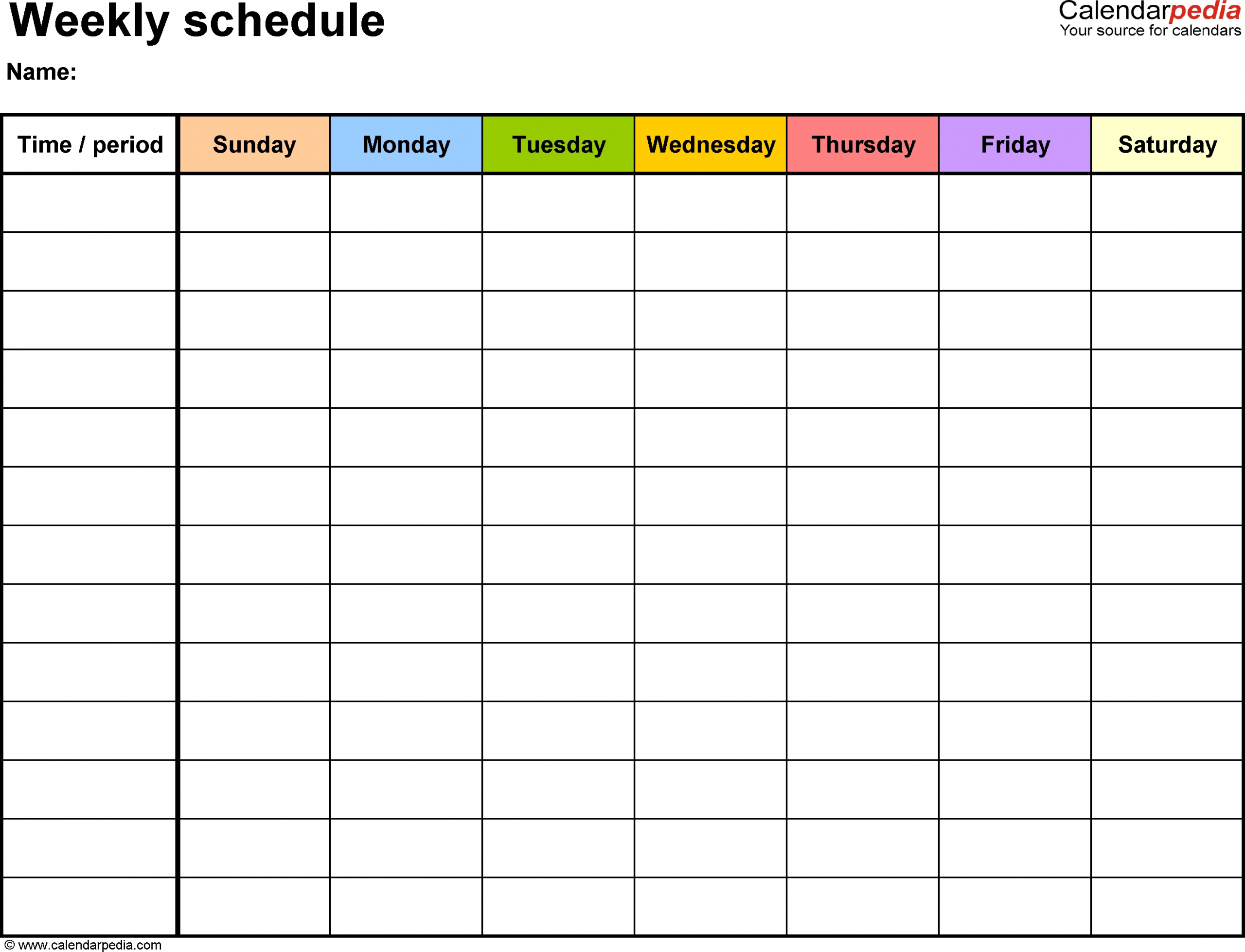 Collect Days Of The Week Template Schedule