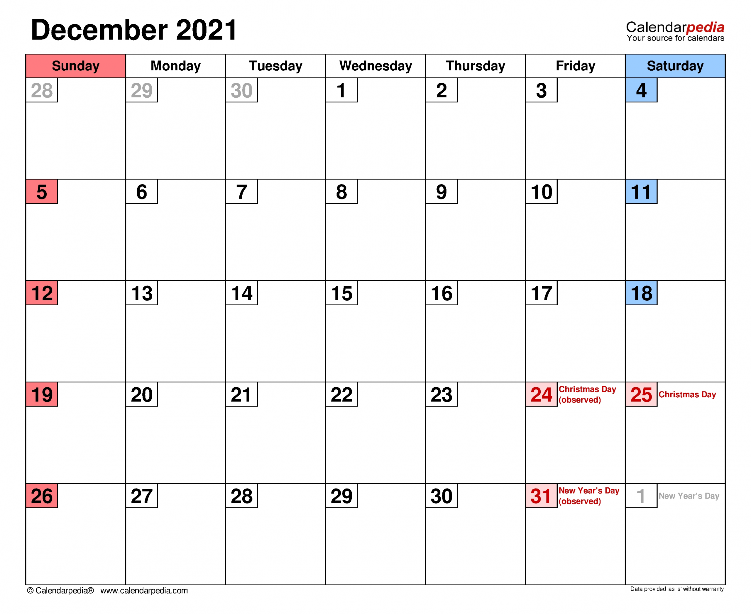 Collect December Christmas 2021 Calendar Template