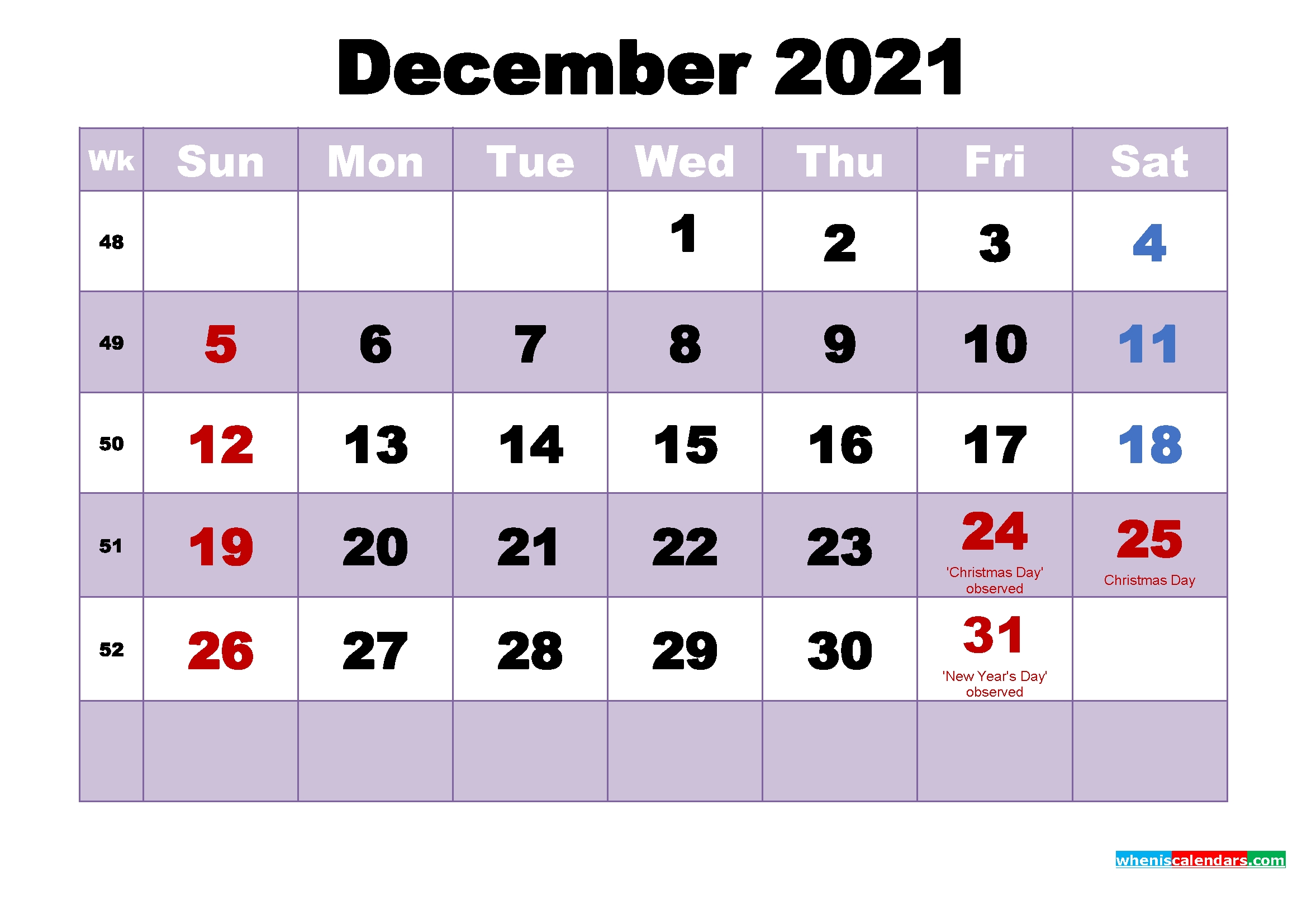 Collect December Christmas Calendar Printable 2021